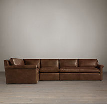 Belgian Petite Roll Arm Leather L-Sectional