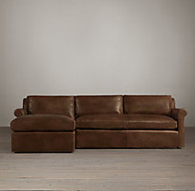 Preconfigured Belgian Petite Roll Arm Leather Left-Arm Chaise Sectional