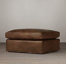 Belgian Petite Roll Arm Leather Ottoman