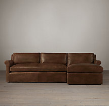 Preconfigured Belgian Petite Roll Arm Leather Right-Arm Chaise Sectional