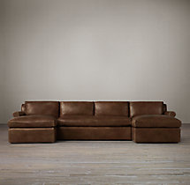 Preconfigured Belgian Petite Roll Arm Leather U-Chaise Sectional