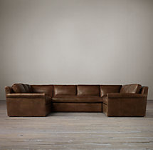 Belgian Petite Roll Arm Leather U-Sofa Sectional