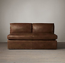 Belgian Petite Roll Arm Leather Armless Sofa