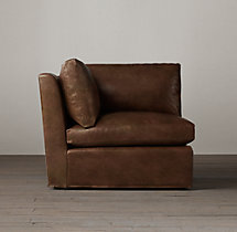 Belgian Petite Roll Arm Leather Corner Chair