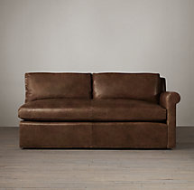 Belgian Petite Roll Arm Leather Right-Arm Sofa