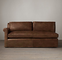 Belgian Petite Roll Arm Leather Left-Arm Sofa