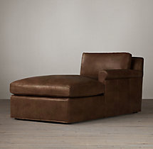 Belgian Petite Roll Arm Leather Right-Arm Chaise
