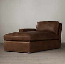 Belgian Petite Roll Arm Leather Left-Arm Chaise
