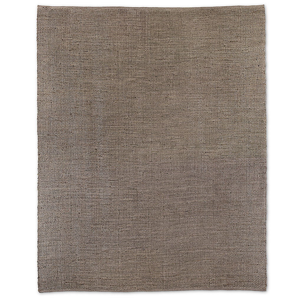 Basket Weave Hemp Rug - Light Grey