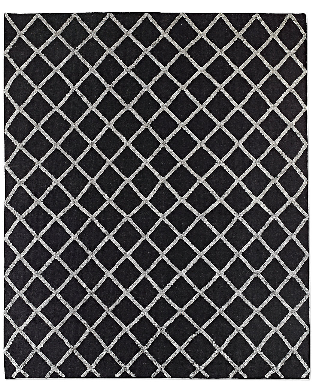 Diamante Flatweave Linen Rug - Black/Grey