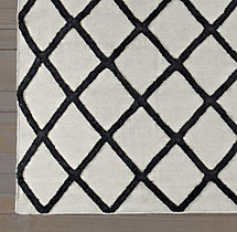Diamante Flatweave Linen Rug - Flax/Black Swatch