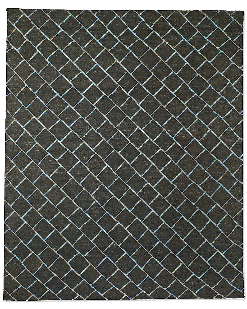 Staggered Diamond Flatweave Rug - Charcoal/Grey