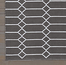 Extended Diamond Flatweave Rug Swatch - Graphite/Blue