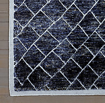 Moroccan Diamond Rug Swatch - Navy