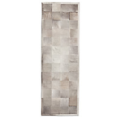 South American Cowhide Tile Rug - Ivory