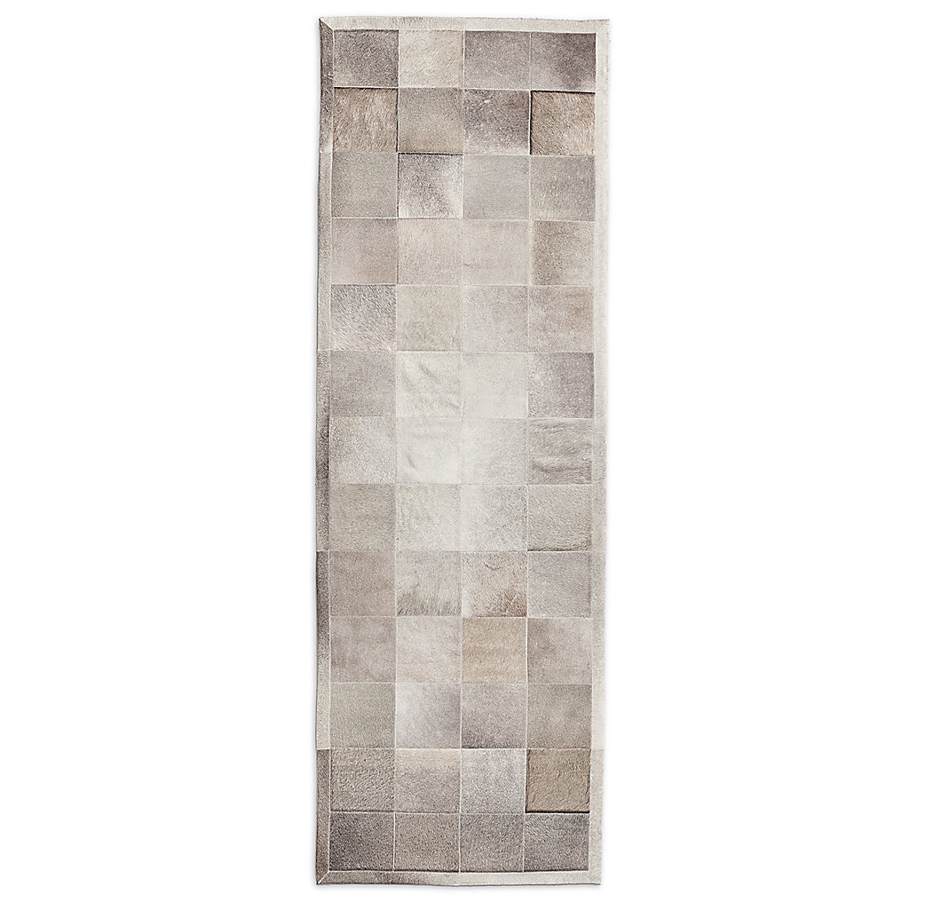 South American Cowhide Tile Rug - Steel