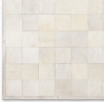 South American Cowhide Tile Rug Swatch - Ivory