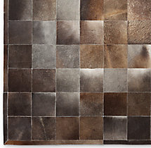 South American Cowhide Tile Rug Swatch - Charcoal