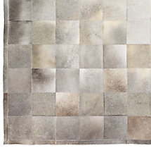South American Cowhide Tile Rug Swatch - Steel