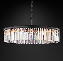 Rhys Clear Glass Prism Round Chandelier 43""