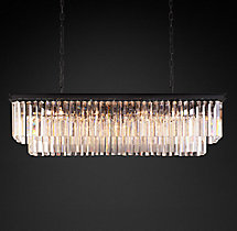 1920s Odeon Clear Glass Fringe Rectangular Chandelier 49""
