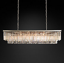 1920s Odeon Clear Glass Fringe Rectangular Chandelier 59""