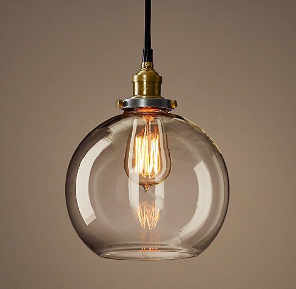 Restoration Hardware Hanging Lamps: 20th C. Factory Filament Clear Glass Café Pendant