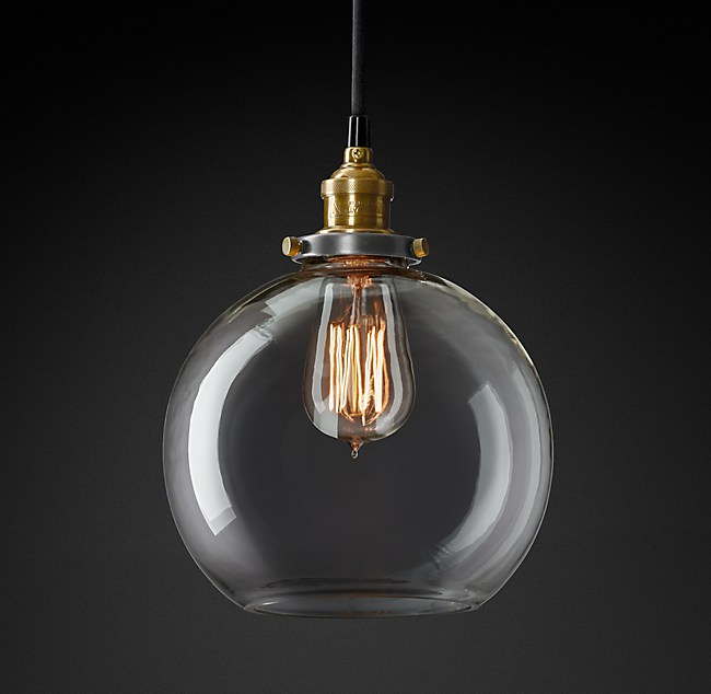 20th C. Factory Filament Clear Glass Café Pendant - C. Factory Filament Clear Glass Café Pendant