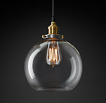 20th C. Factory Filament Clear Glass Café Pendant