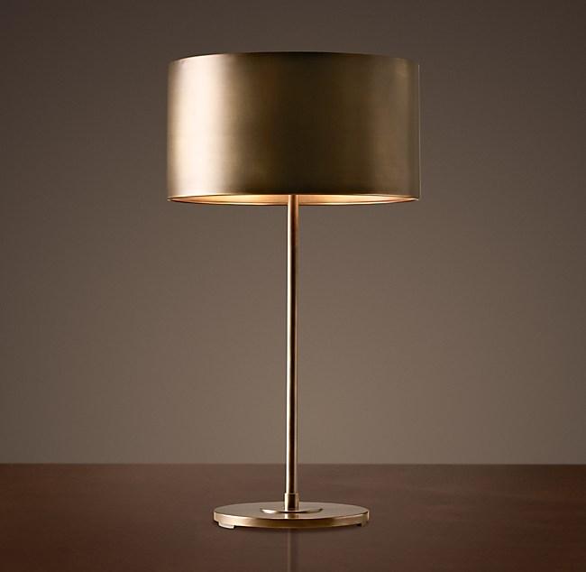 Antiqued Metal Drum Table Lamp