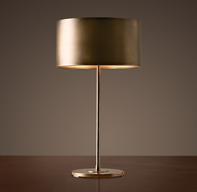 Antiqued metal drum table lamp aloadofball Gallery