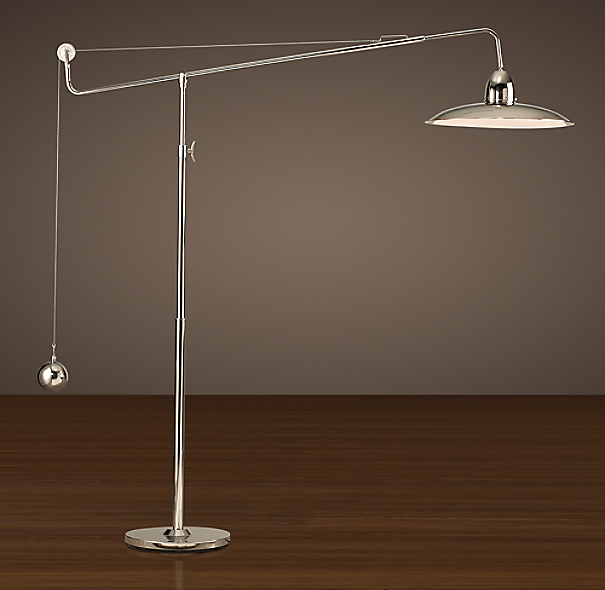 1940s architect s boom floor lamp polished nickel 87812