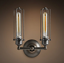 Edison Caged Double Sconce