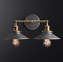 20th C. Factory Filament Metal Double Sconce