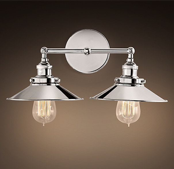 20th C Factory Filament Metal Double Sconce
