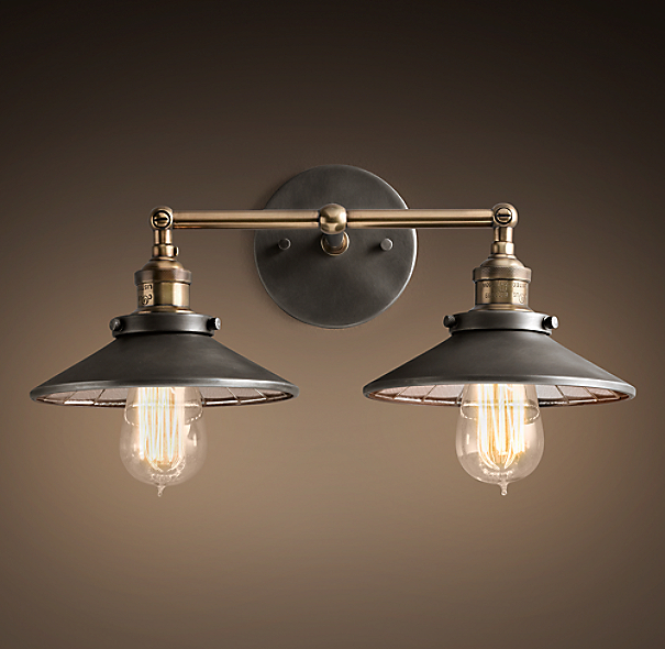20th C Factory Filament Reflector Double Sconce