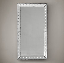 18Th C. Venetian Glass Beveled Leaner Mirror