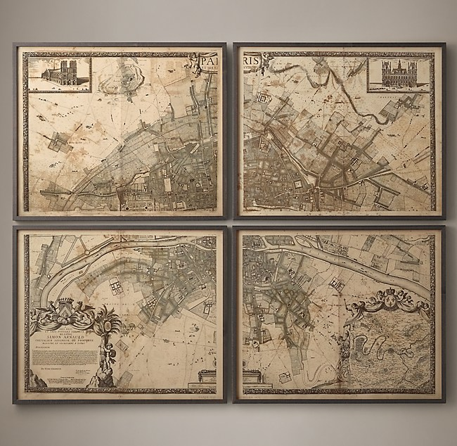 Plan De Paris FourPanel Map - Restoration hardware paris map