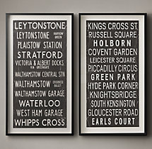 Vintage Bus Stop Scroll Leytonstone & Kings Cross