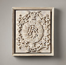 Hand-Carved Rococo Wood Panel White Small