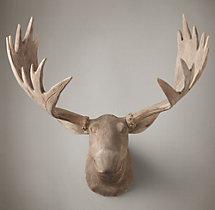 Hand-Carved Wood Moose Trophy Head