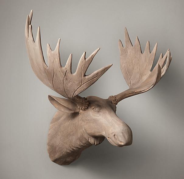 Hand Carved Wood Moose Trophy Head