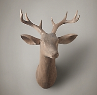 Hand Carved Wood Stag Trophy Head Left Facing