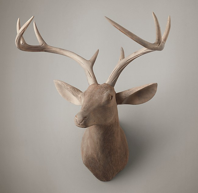Hand Carved Wood Wood Stag Trophy Head Right Facing