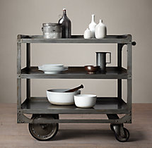 1930s Industrial Steel Bar Cart