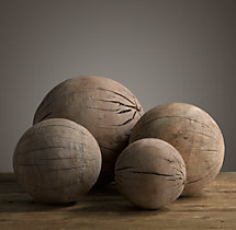 19th C. Wood Spheres