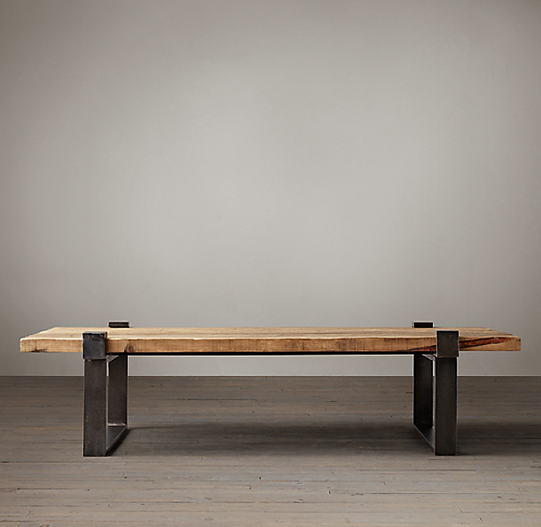 Reclaimed Pine And Steel Clamp Coffee Table