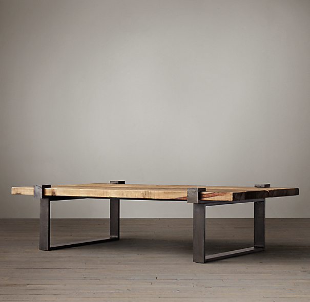Restoration Hardware Reclaimed Teak Coffee Table: Reclaimed Pine And Steel Clamp Coffee Table
