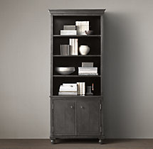 Annecy Metal-Wrapped Panel Double-Door Sideboard & Open Hutch