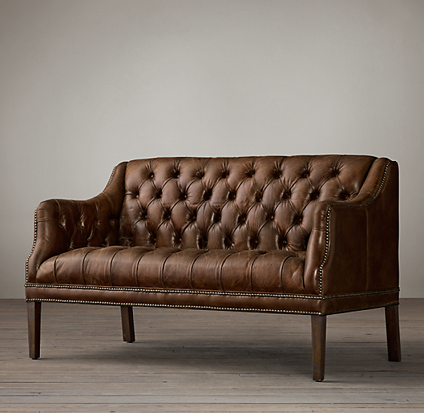 Leather Banquette Seating Store: Everett Tufted Leather Settee